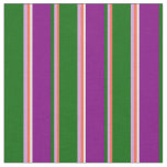 [ Thumbnail: Red, Plum, Dark Green, Purple & White Pattern Fabric ]