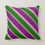 [ Thumbnail: Red, Plum, Dark Green, Purple & White Pattern Throw Pillow ]