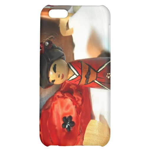 Red Plum Kokeshi Case For iPhone 5C