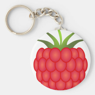Red Plump Raspberry With Leaves Basic Round Button Keychain