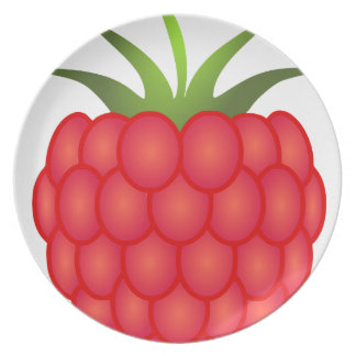 Red Plump Raspberry With Leaves Dinner Plate