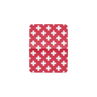 Red Plus Sign Pattern Business Card Holder
