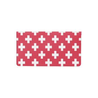 Red Plus Sign Pattern Checkbook Cover