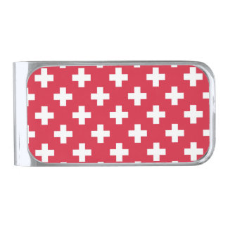 Red Plus Sign Pattern Silver Finish Money Clip