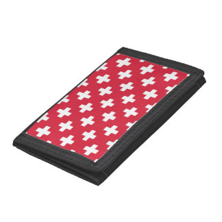 Red Plus Sign Pattern Trifold Wallet