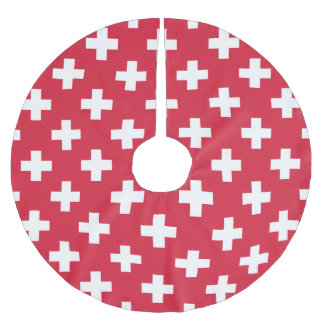 Red Plus Signs Pattern Brushed Polyester Tree Skirt