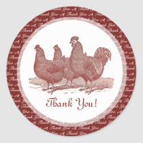 Red Plymouth Rock Chicken Thank You Stickers