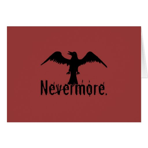Red Poe Tribal Raven Nevermore Card