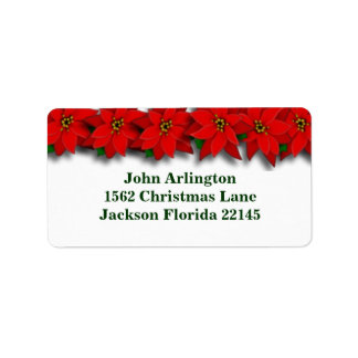 Red Poinsetta Address Labels