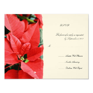 Red Poinsettia 2 Christmas Wedding RSVP Card