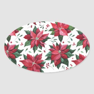 Red Poinsettia and Berries Sticker