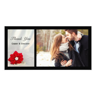 Red Poinsettia and Pearls Winter Wedding Thank You Card