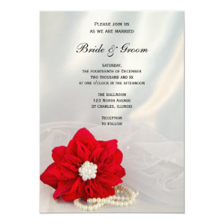 Red Poinsettia and White Pearls Winter Wedding Card