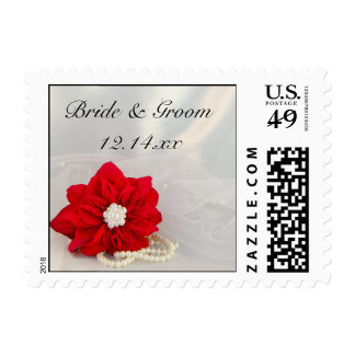 Red Poinsettia and White Pearls Winter Wedding Postage