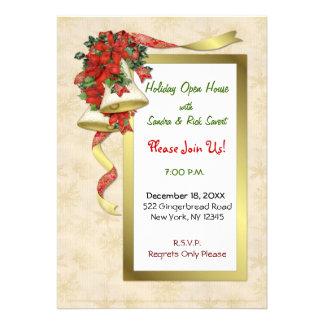 Red Poinsettia Bells Invitations