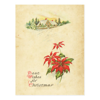 Red Poinsettia Best Wishes Vintage Christmas House Postcard