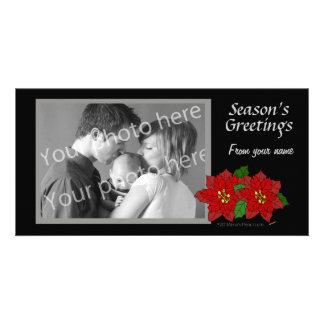 Red Poinsettia Black Gray Christmas Photo Template