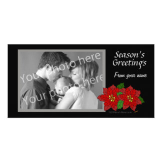 Red Poinsettia Black Gray Christmas Photo Template Photo Cards