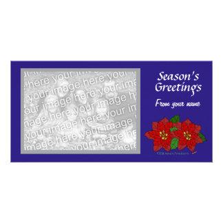 Red Poinsettia Blue Custom Photo Card Template