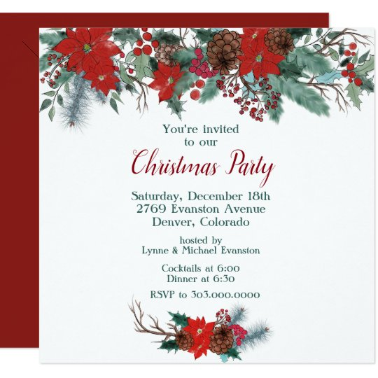 Christmas Top Border.Red Poinsettia Border Bouquet Christmas Party Invitation
