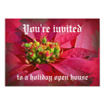 "Red Poinsettia - Christmas 5"" X 7"" Invitation Card"