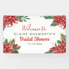 Red Poinsettia Christmas Bridal Shower Banner