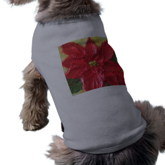 Red Poinsettia Christmas Pet Tee Shirt