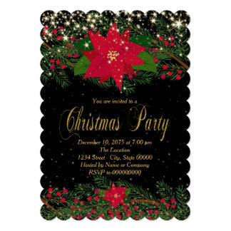 Red Poinsettia Christmas Party Card