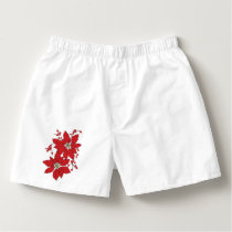 Red Poinsettia Christmas Patte Boxers