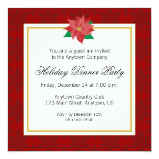 Red Poinsettia Corporate Holiday Dinner Party Card