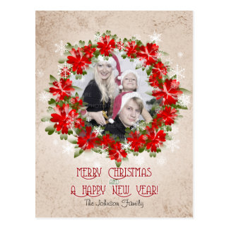 Red Poinsettia Crown And Snowflakes Christmas Postcard