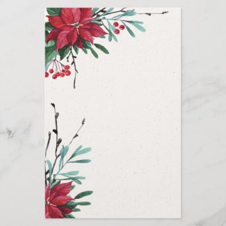 Red Poinsettia Elegant Holiday Stationery