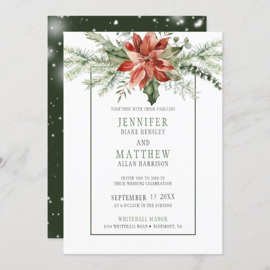 Red Poinsettia & Evergreens Garland Wedding   Invitation
