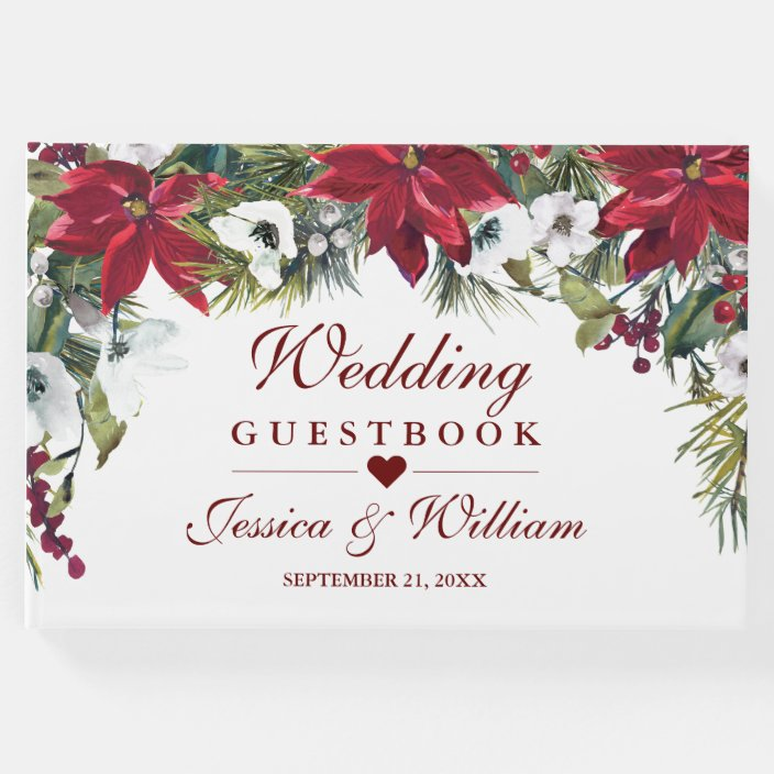 Red Poinsettia Floral Christmas Wedding Guest Book Zazzle Com