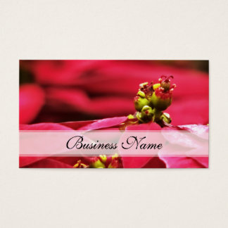 Red Poinsettia Flower Business Card