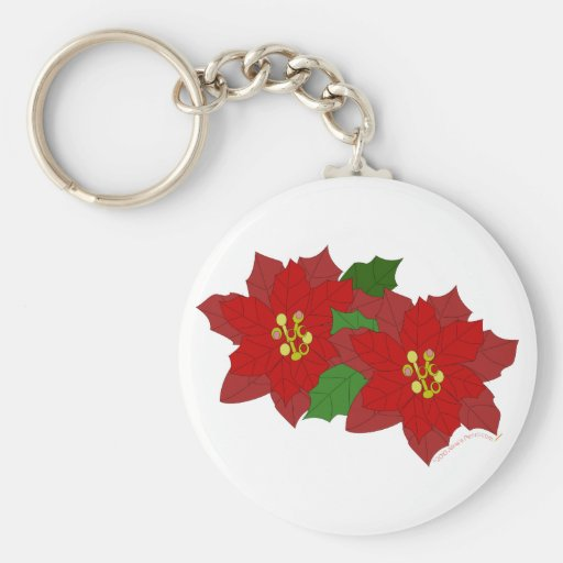 Red Poinsettia Flower Christmas Blossom Keychains