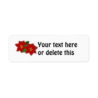 Red Poinsettia Flower Christmas Blossom Custom Return Address Labels