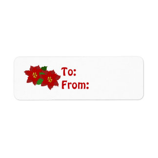 Red Poinsettia Flower Christmas Blossom Label