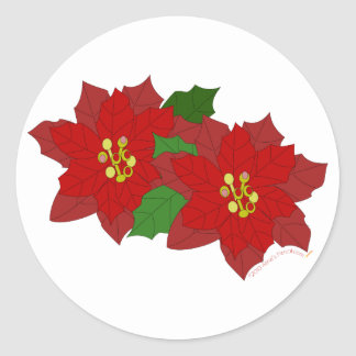 Red Poinsettia Flower Christmas Blossom Classic Round Sticker