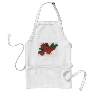 Red Poinsettia Flower Christmas Design Art Floral Apron