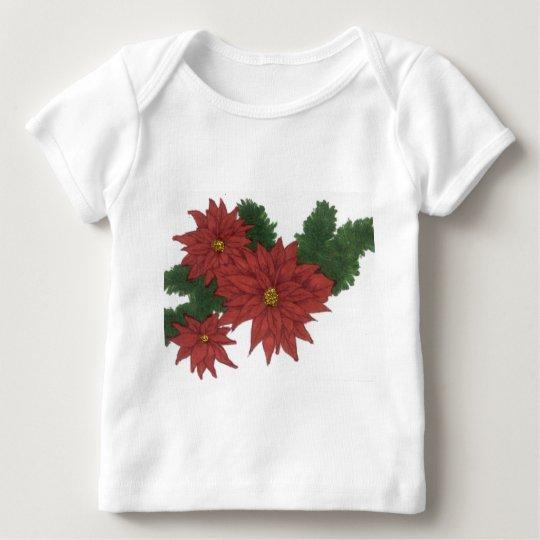 Red Poinsettia Flower Christmas Design Art Floral Baby T-Shirt