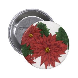 Red Poinsettia Flower Christmas Design Art Floral Button