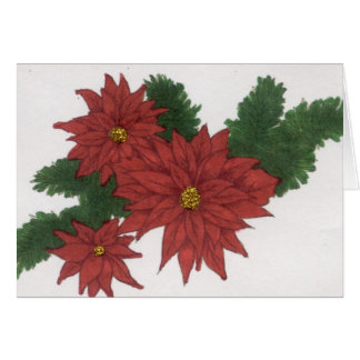 Red Poinsettia Flower Christmas Design Art Floral Card