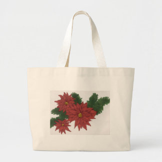 Red Poinsettia Flower Christmas Design Art Floral Large Tote Bag