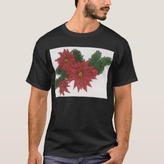Red Poinsettia Flower Christmas Design Art Floral T-Shirt
