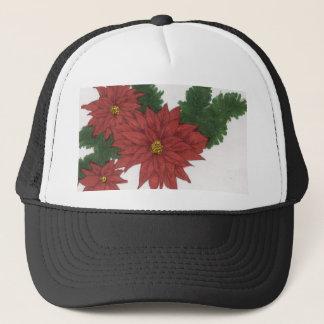 Red Poinsettia Flower Christmas Design Art Floral Trucker Hat