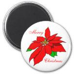 Red Poinsettia Flower Merry Christmas Fridge Magnets