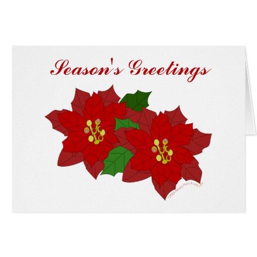 Red Poinsettia Flower Season's Greetings Template Card | Zazzle