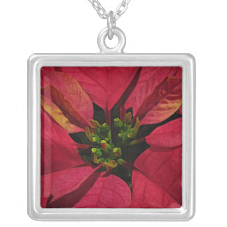 Red Poinsettia Flower Silver Plated Necklace