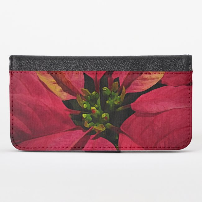 Red Poinsettia Flowerl iPhone X Wallet Case